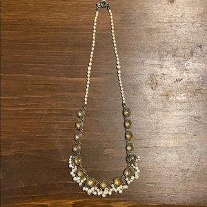 J. Crew Pearl Cluster and Crystal Necklace